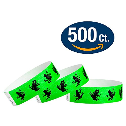 "WristCo Green Frogs 3/4"" Tyvek Wristbands - 500 Pack Paper Wristbands For Events"