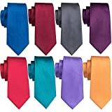 Solid Ties Business Silk Neckties Set Classic Men Formal Grey Blue