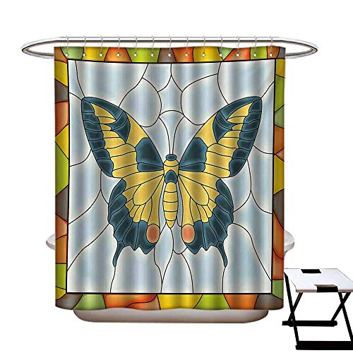 Bears Stained Chicago Nfl Glass - Butterflies Shower Curtains with Shower Hooks Butterfly in Stained-Glass Window with Frame Wing Spring Garden Illustration Fabric Bathroom Set with Hooks W54 x L78 Multicolor