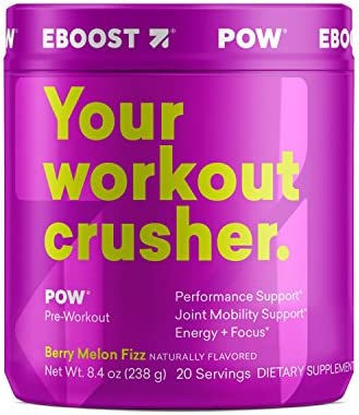 Eboost Natural Pow Pre-Workout Powder Tub 8.4 oz 20 Servings Berry Melon Fizz