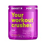 EBOOST POW Natural Pre-Workout Powder | Maximize Workouts & Recover Faster Smoother- Berry Melon Fizz Flavor (20 Servings per Tub)