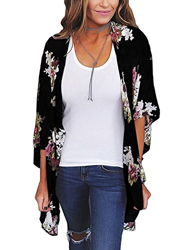 Zexxxy Cover up Blouse Tops Flower Print Open Front Shawl Kimono Coat Jackets Black S ()