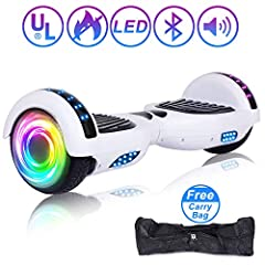 【Give your family the coolest Christmas gift this year!】 6.5'' 36V 300W Electric Self Balance Board is a stand-up personal transporter without handle bars, equipped with front LED light, wheel flashing light ,no-slip footpad and 6.5-inch thre...