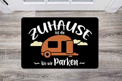 510TOpk2o4L Kaffeebecher24 Fußmatte mit Spruch - Zuhause ist da wo wir parken - [Waschbar]