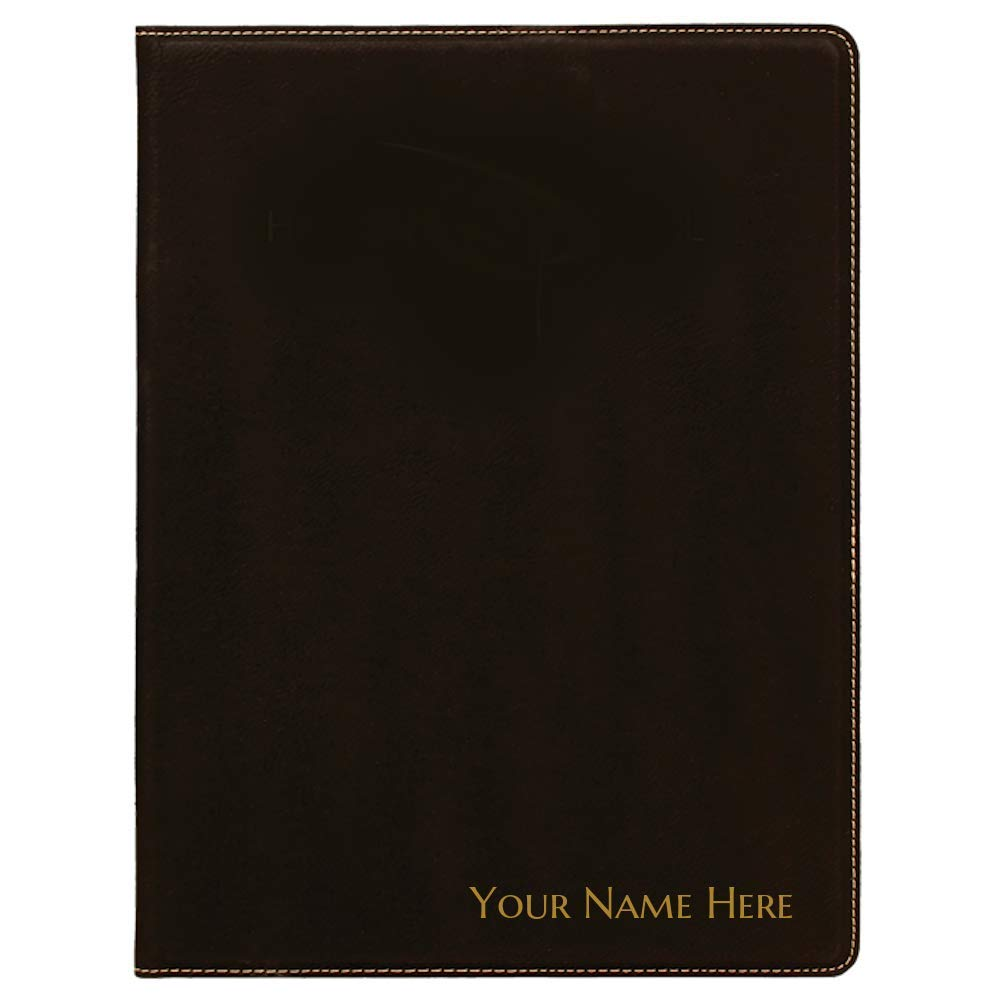 Personalized Portfolio Notepad Folder Laser Engraved Faux Leather - 9.5 by 12 Professional Writing Pad