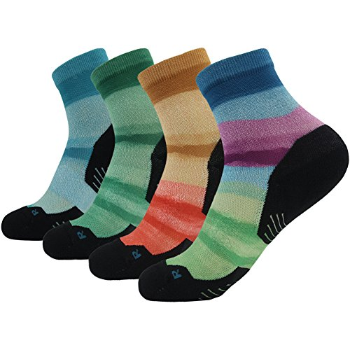HUSO Men's Women's Elite No-show Athletic Patterned Funcational Running Socks 4 pairs (Multicolor,L/XL)