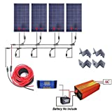 400 Watts Off Grid Solar Power System: 4pcs 100w...