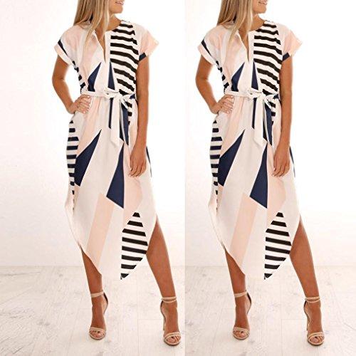 V Femme femmes courtes pour dcontracte et Blanc manches Robe maxi en col Robe Bovake vwq7dTv