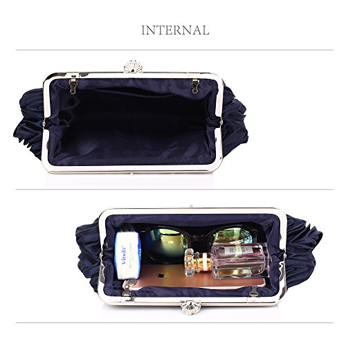 Designer Navy Newlook Design Diamante Bag Handbag Bag Evening Crystal Clutch Ladies Women 1 Wedding Pleated Purse xZqvwOUzP