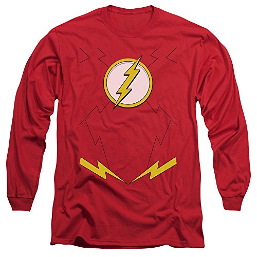 [Justice League New Flash Costume Mens Long Sleeve Shirt Red 2X] (League Of Assassins Costume)