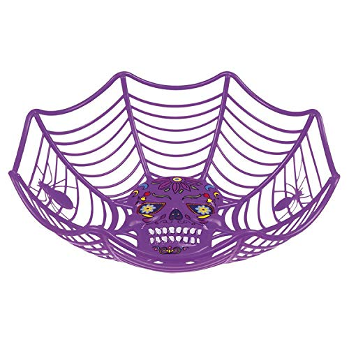 Boland 97065 Decorative Bowl Halloween Day of The Dead 25 cm Purple -