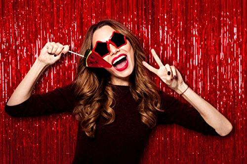 Pack of 2 Red Iridescent Foil Party 3 x 8 Feet Metallic Tinsel Curtains Photo Booth Props for Birthday Bachelorette Wedding Engagement Baby Shower Graduation Retirement Party Decorations -