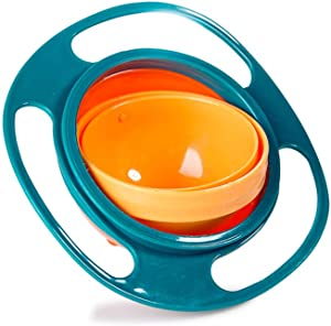 Baby Gyro Bowl Funny 360 Degree Rotate Spill-Proof Bowl with Lid Feeding Without Mess Toy for Toddler Baby Kids Children,Color Green
