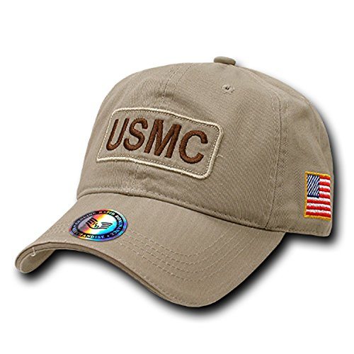 United States Marine Corps USMC Marines Dual American Flag Military Baseball Polo Relaxed Washed Cotton Cap Hat