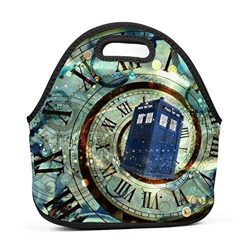 WWINL Doctor Who Lunch Bag Insulated Reusable Neoprene Lunch Box Waterproof Tote Bento Bag With Zippe Handbag For Men, Women, Adults, Kids, Girls, Boys]()
