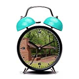 Blue Alarm Clock, Retro Portable Twin Bell Beside Alarm Clocks with Nightlight-030.An open-air picnic shelter with multiple picnic tables and a brick fireplace