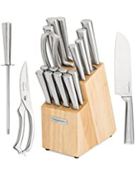17 Piece Chef Knife Set - Includes Solid Wood Block, 6 Stainless Steel Kitchen Knives, Set of 8 Serrated Steak Knives, Heavy Duty Poultry Shears, and a Carbon Steel Sharpening Rod