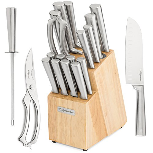 - 17 Piece Chef Knife Set - Includes Solid Wood Block, 6 Stainless Steel Kitchen Knives, Set of 8 Serrated Steak Knives, Heavy Duty Poultry Shears, and a Carbon Steel Sharpening Rod