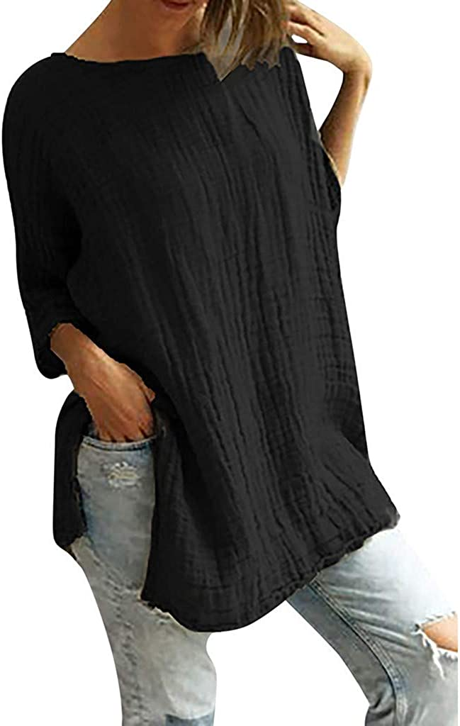 Libermall Womens Summer Half Sleeve Shirts Vintage Solid Split Cotton Linen Casual Loose Tunic T-Shirts Blouses Tops