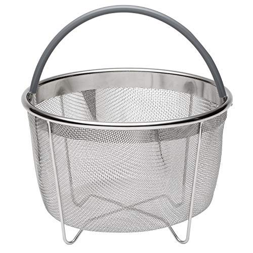 717 Industries Steamer Basket, Stainless Steel Mesh Strainer Compatible Instant Pot Other Pressure Cookers, Fits 6 & 8 Quart Pots (Grey Silicone Handle)