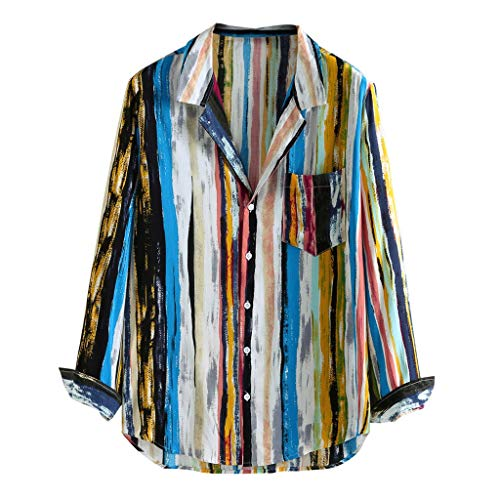 Price comparison product image ANJUNIE Men Retro Colorful Striped BlouseLoose Button Down Cardigan Long Sleeve Shirt Top Outwear(Multicolor