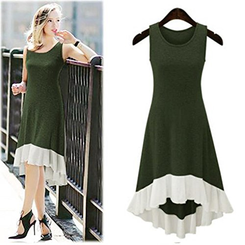 Hula Costume Patterns (Hot Dress!Elevin(TM)2017 Women Summer Casual Sleeveless Chiffon Hem Dress Flounced Dress (M, Green))