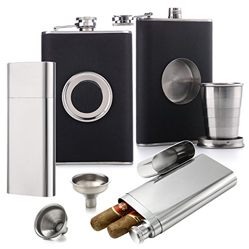 Flask Set [Voted Top 10 Gift for Men - 2018] - Dual Cigar Flask (1) + Shot Glass Flask (1) + Funnel (2) (Cigars Not - Cigar Flask Personalized