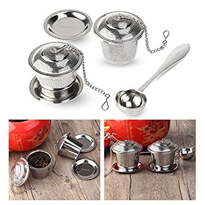 Tea Strainer Loose Tea Infuser 304 Stainless Steel Tea Steeper with Tea Scoop and Drip Trays