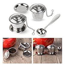 OUNONA Tea Infuser Tea Strainer Ultra Fine Stainless Steel Strainer (Set of 2) with Tea Scoop and Drip Trays