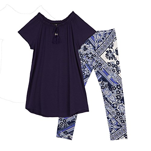 Amy Byer Girls' Big Scoop Neck Tunic Outfit