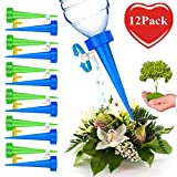 Happystore Automatic Drip Devices Plastic Irrigation Watering Kit Vacation Plant Waterers Spike Tool with Slow Release Control Valve Switch for Outdoor Indoor Flower Plants Tree 12pcs/Pack