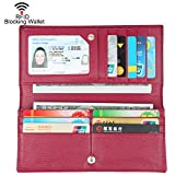 Dante Women RFID Blocking Ultra Slim Leather Wallet-Clutch Wallet-Shield Against Identity Theft(Wine Red)