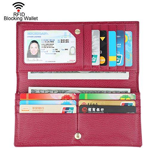 Dante Women RFID Blocking Ultra Slim Leather Wallet-Clutch Wallet-Shield Against Identity Theft(Wine Red)