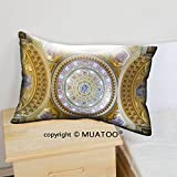 MuaToo Decorative Soft Throw Cover Pillow Cover Pillowcase Cotton Canvas Case, budapest hungary february interior of the cupola roman catholic church st stephen s 12 x 20 for Couch, 2 Pack