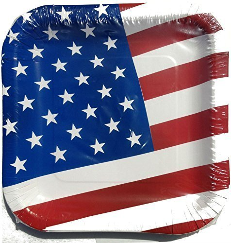 4th of July Patriotic American Flag Paper Plates, 14 Count (4 Pack) -