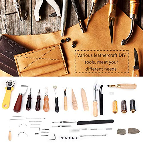 30PCS Leather Craft Hand Sewing Stitching Punch Carving Trench Polishing Tools Kit DIY Hand Tool by Walfront (Image #8)