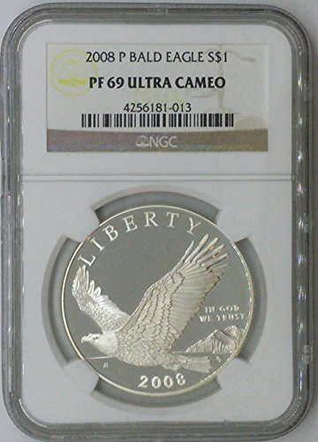 (2008 P Modern Commemorative $1 PF69 NGC Bald Eagle Silver Dollar Us Coin 90%)