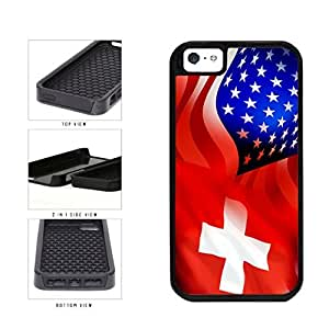 Switzerland and USA Mixed Flag 2-Piece Dual Layer Phone Case Back Cover Apple iPhone 5 5s