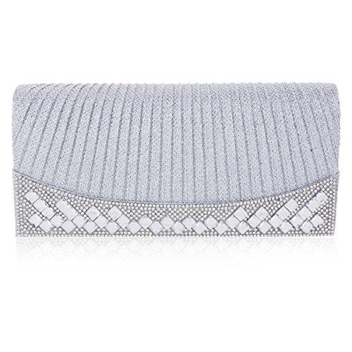 Damara Para Mujer Brillante almohada forma solapa imán bolsa de noche Plata - plateado