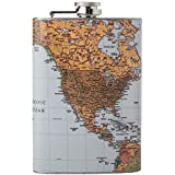 Maxam Drinkware Flask with Antique World M Style, 8 oz, Multicolor