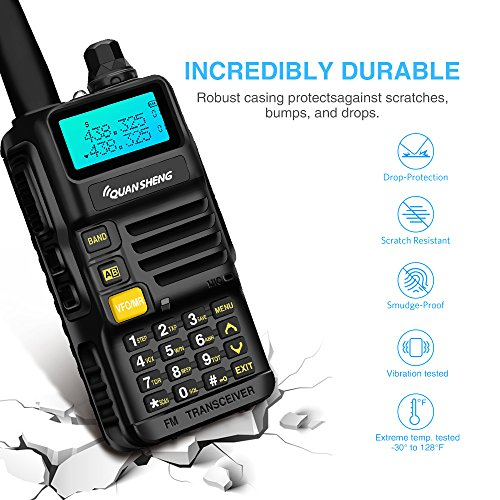 Quansheng Rechargeable Dual Band Radios with Earpiece Long Range Walkie Talkies Li-ion Battery and Included