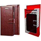 Designer Hub Samsung Galaxy On8 / On 8 Flip Flap Cover Case with Stand/Wallet / Card Holder (Brown)