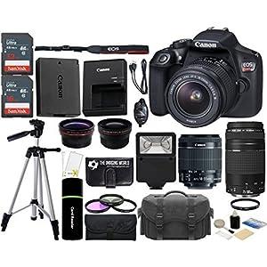 Canon EOS Rebel T6 18MP Wi-Fi SLR Digital Camera + 18-55mm is II Lens + EF 75-300mm III Lens + 32GB & 16GB Card + Wide…