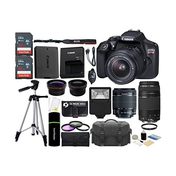 510TTRuheQL. SS600  - Canon EOS Rebel T6 18MP Wi-Fi SLR Digital Camera + 18-55mm is II Lens + EF 75-300mm III Lens + 32GB & 16GB Card + Wide…