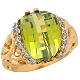 10k Two-Tone Gold Dazzling Simulated Peridot Ladies Filigree Wide Top Ring