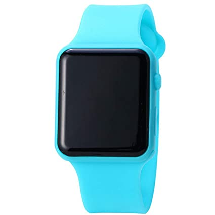 1PC del reloj de silicona banda reloj deportivo digital Display reloj de pulsera ocasional azul
