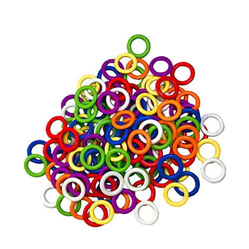 ((140 Pieces) Colorful Iron O-Rings & Stitch Ring Markers for Knitting/Crochet/etc, (Includes 7 Colors, for Knitting/Crochet/etc)(Small Internal Diameter 6mm))
