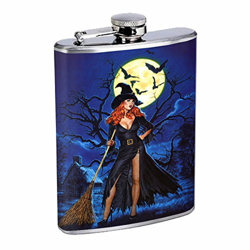 (Vintage Witch Witchcraft S8 Flask Stainless Steel 8oz Hip Silver Whiskey Drinking Spooky)