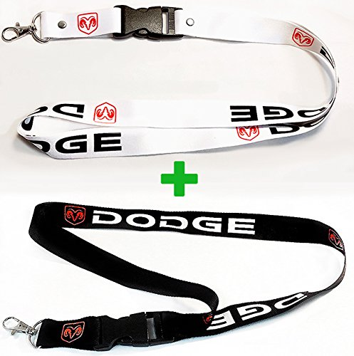 - 2x Dodge Lanyards White & Black with Red Logo 1 inch x 22 inch Key Chain ID Badge Card Holder Hanger