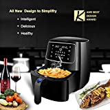 Air Deep Fryers 3.7-Quart - Digital Programmable Touch Screen Control Electric Oil Free Hot Air Fryer with 10-in-1 Cook Presets Intelligent and 50 Online Recipes, Detachable Dishwasher Metal Inner Housing Skewer Fryer Rack Accessory